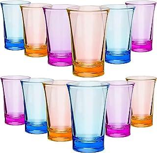 Acrylic Cups, ELECDON 12 Pieces Shots Colorful Shot Glasses 1.2-Ounce Heavy Base Shot Glasses ( Blue, Purple, Yellow )