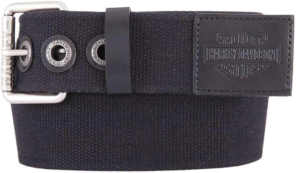 Harley-Davidson Men's Bad Manners Genuine Leather Trims Belt, Antique Nickel