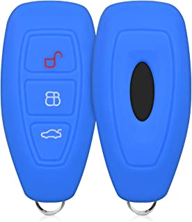 kwmobile Funda de Silicona para Llave Keyless Go de 3 Botones para Coche Ford - Carcasa Protectora Suave de Silicona - Case Mando de Auto Azul