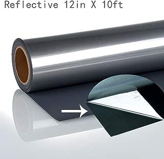 Reflective Silver Heat Transfer Vinyl Roll for Athletic Gear Shirt (12 in x 10 Feet)