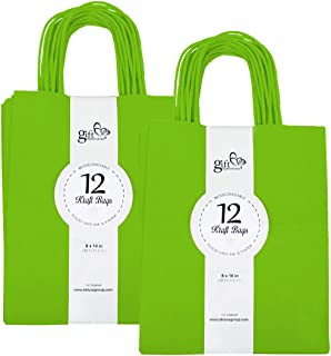 24CT MEDIUM LIME GREEN BIODEGRADABLE, FOOD SAFE INK & PAPER, PREMIUM QUALITY PAPER (STURDY & THICKER), KRAFT BAG WITH COLORED STURDY HANDLEs (Medium, Green)