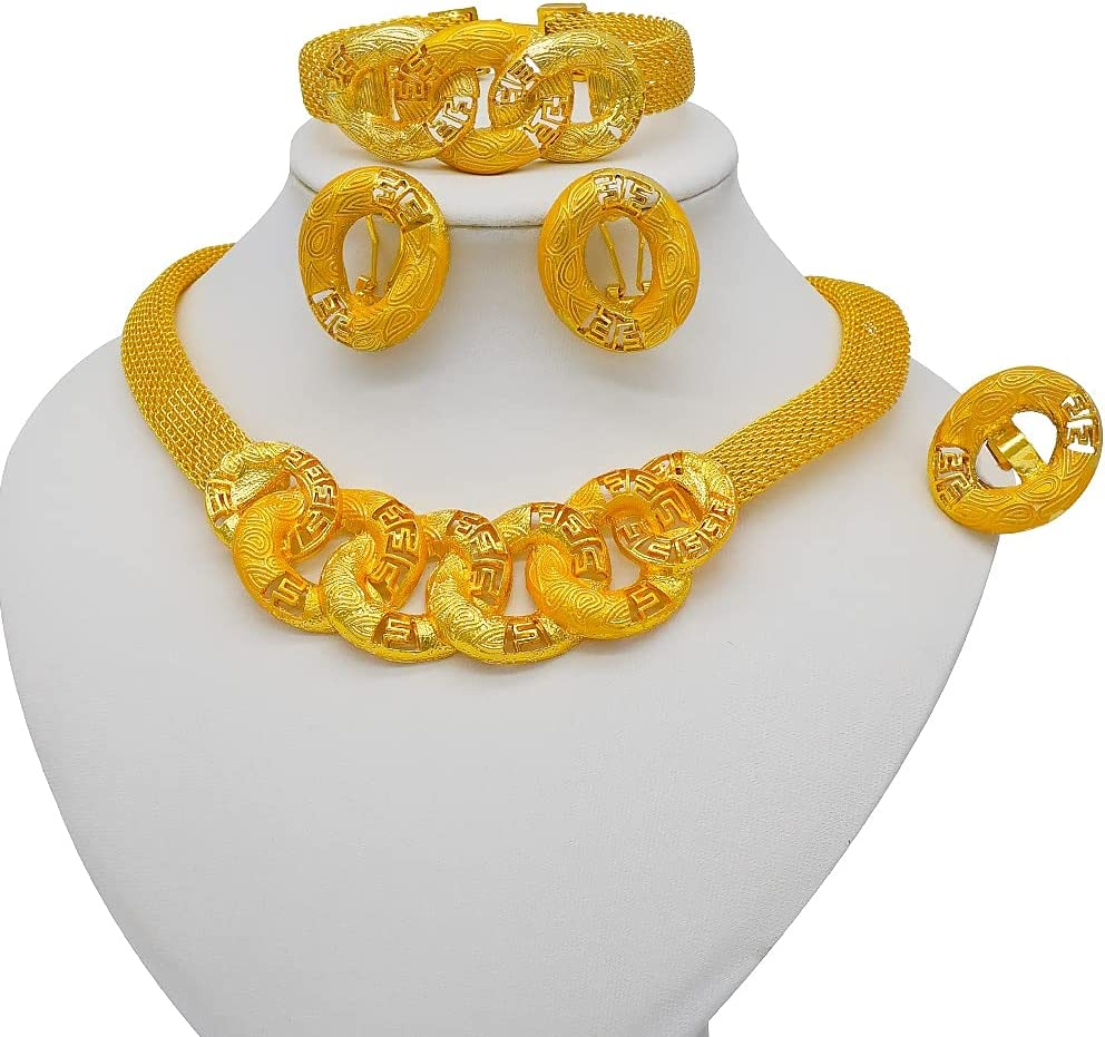 QXZ-WOLFBERRY 24K Gold Color Jewelry Sets for Women Bridal Luxury Necklace Earrings Bracelet Ring Set Dubai African Wedding Gifts (Metal Color : BJ912-1)
