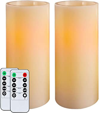 """Homemory 9"""" Flameless Candles Battery Operated, Flickering Amber Yellow Light LED Pillar Candles with Timers and 2 Remote Con"""