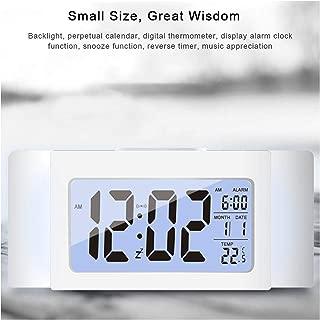 Dep Fower 2019 New Smart Alarm Clo, udent Bedside Clo Digital Display Alarm Clo Calendar Luminous Alarm Table Clo,White