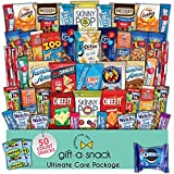 Snack Box Variety Pack (50 Count) Graduation 2021 Crave Gift Basket - Fathers Day Prime Food Arrangement, College Student Care Package, Candy Chips Cookies - Birthday Treat for Women, Men, Adult, Kid