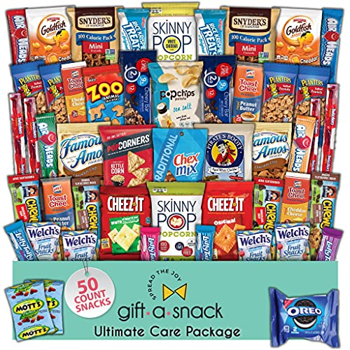 Snack Box Variety Pack Care Package (50 Count) Halloween Trick or Treat Candies Gift Basket -...