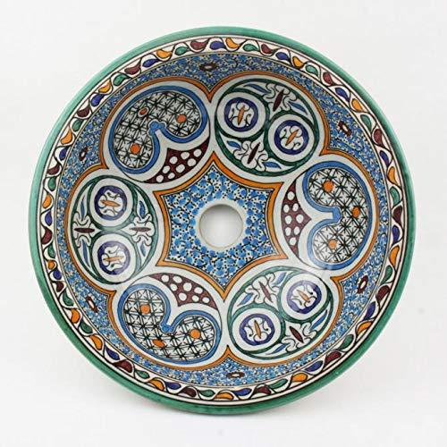 Orientalisches Keramik-Waschbecken Fes30 Ø 35 cm rund bunt Marokkanische Aufsatzwaschbecken handbemalt Handwaschbecken für Küche Badezimmer Gäste-Bad Kunsthandwerk aus Marokko | WB35201