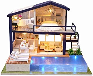 Rylai 3D Puzzles Miniature DIY Dollhouse Kit Time Apartment Series Dolls Houses Accessories with Furniture LED Music Box Best Birthday Gift for Women and Girls