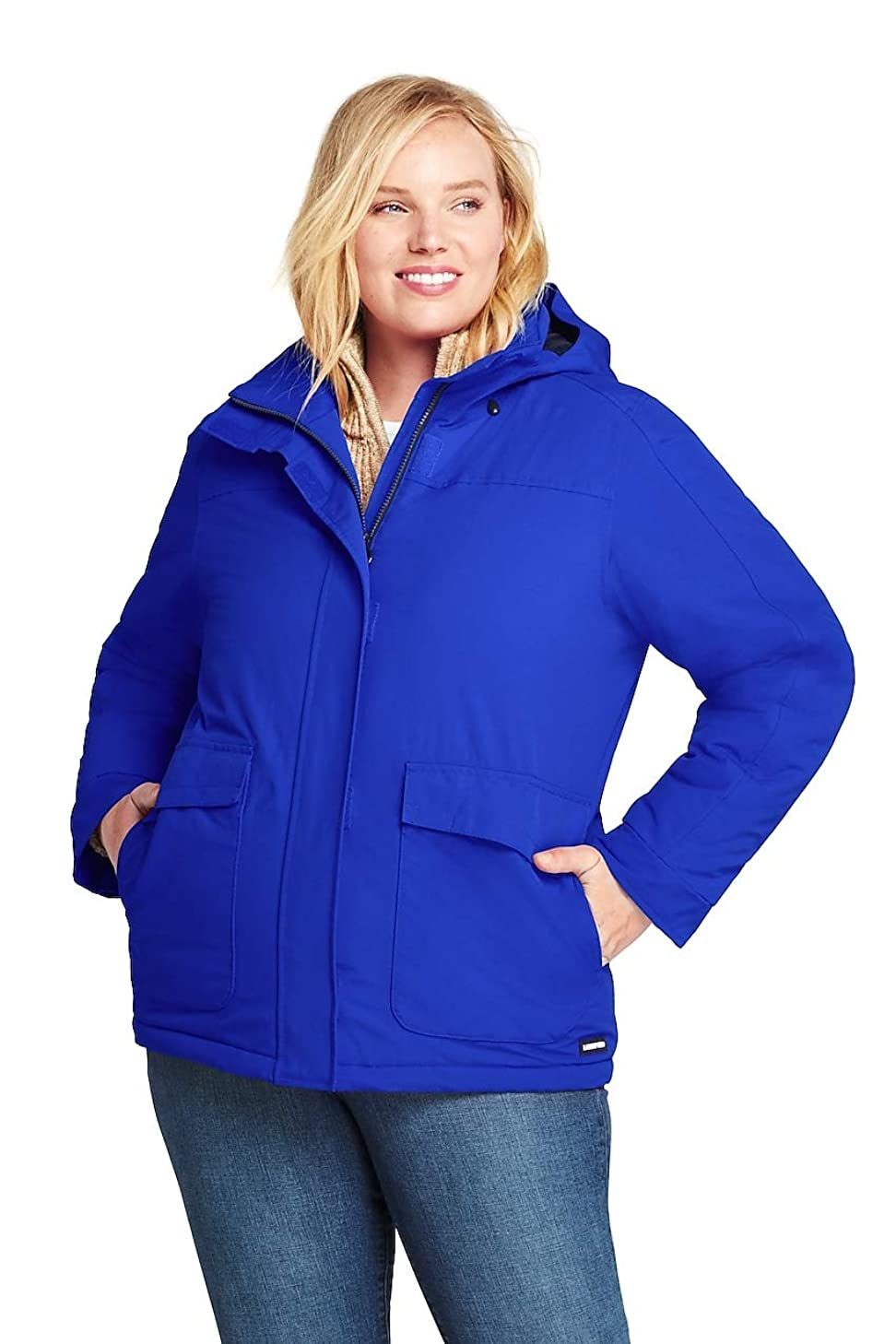 Lands' End Women's Plus Size Hooded Squall Winter Jacket