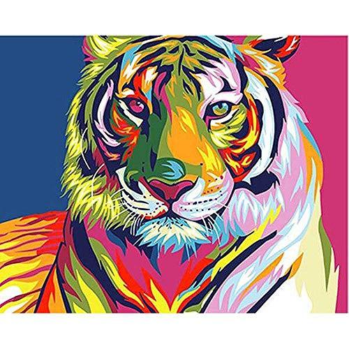 nobrand Bunte Tiger DIY Malen Nach Zahlen Für Kinder Erwachsene Acryl Gemälde DIY Bilder Nach Zahlen Auf Leinwand Wohnzimmer Wand