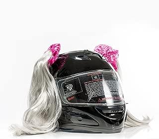 Stick On Motorcycle Helmet Pigtails Ponytails (Grey)