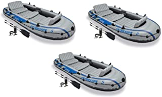 Intex Excursion 5 Person Inflatable Rafting &Fishing Boat Set w/2 Oars (3 Pack)