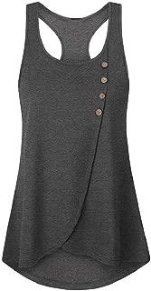 Luckycat Mujer Camiseta Elegante Casual Playa Sin Manga Camisola Escote Tirantes Espalda Descubierta Cuello V Top Shirt Mujer Camisetas Sin Mangas Chaleco Tirantes Backless con Cuello V En Verano