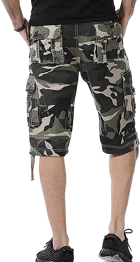 Osmyzcp Mens Casual Loose Fit Cargo Shorts Camo Shorts with Multi Pockets Fashion Shorts