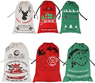 Isbasa 6 Pack Santa Sack, Christmas Canvas Bags with Drawstring, Large and Small Size Santa Bag for Gifts 3 Colors Personalized Burlap Bag, 27.6 Inches by 19.7 Inches, 19.7 Inches by 11.8 Inches