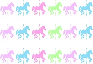 """Carousel Horses Pre Cut Edible Icing Cake Side Strips/Ribbons 3 x Pre-cut Strips of Icing – Each strip is 2.5"""" in height x 10"""" in width (5-10 BUSINESS DAYS DELIVERY FROM UK)"""