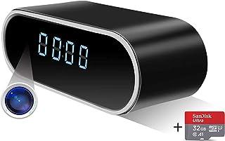 隠しカメラ 置き時計型 防犯カメラ 4K スパイカメラ ネットワークカメラ 高画質 長時間録画 夜見 動き検出 自動警報 ループ録音 USB充電 iPhone/Android対応
