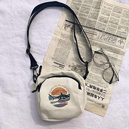 Frauentasche Damen Leinwand Handtasche Koreanische Mini Student Umhängetasche Mobile Geldbörse Lässige Damen Flip Schulter Einfache Kleine Umhängetasche Weiß