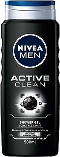 NIVEA MENアクティブクリーンシャワージェルパック6本(6 x 500ml)、浄化活性炭ボディウォッシュ、男性用シャワージェル、男性用香り