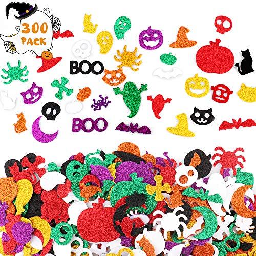 Sporgo Halloween Aufkleber für Kinder,300PCS Glitter Schaum Aufkleber Halloween Schädel Kürbis Spinne Aufkleber,Schaum Bastel Sticker für Kinder Party Dekoration Kindergeburtstag Mitgbsel