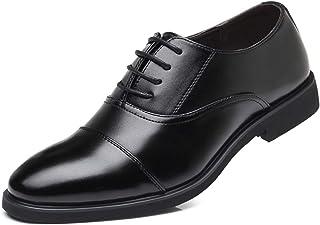 [Misalwa] ビジネス靴 紳士靴 革靴 ビジネスシューズ メンズ 本革 ストレートチップ 新しい男性のスーツ革靴カジュアル靴青年ビジネス丸首カジュアル靴