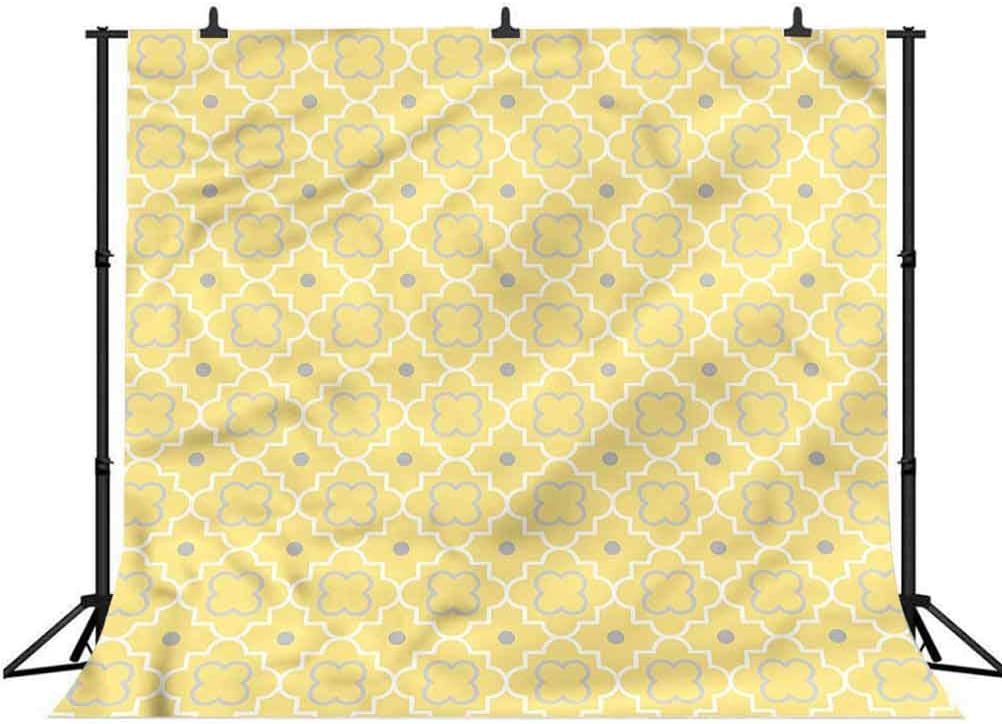 7x7FT Vinyl Photo Backdrops,Quatrefoil,Pattern with Moroccan Background for Graduation Prom Dance Decor Photo Booth Studio Prop Banner