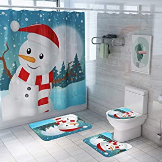 RICH-Po 4Pcs Christmas Snowman Shower Curtain Set Waterproof Shower Curtain Non-Slip Bath Mat Toilet Seat Cushion Set,Cute Housewarming Gift