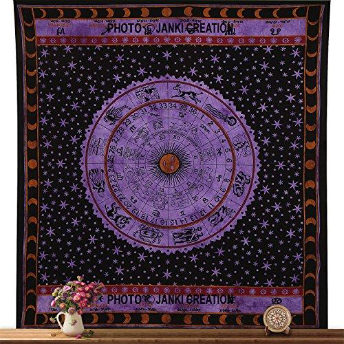 Sternzeichen-Wandteppich für Horoskop, Tapisserie, indische Astrologie, Queen-Size, Größe 215 x 230 cm, Tagesdecke, Baumwolle, Picknickdecke