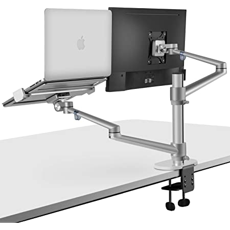 viozon Monitor and Laptop Mount, 2-in-1 Adjustable Dual Arm Desk Mounts Single Desk Arm Stand/Holder for 17 to 32 Inch LCD Computer Screens, Extra Tray Fits 12 to 17 inch Laptops (Silver)