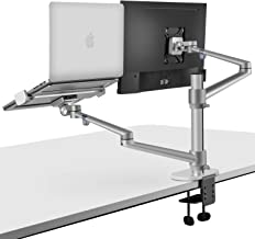 viozon Monitor and Laptop Mount, 2-in-1 Adjustable Dual Monitor Arm Desk Mounts,Single Desk Arm Stand/Holder for 17 to 32 Inch LCD Computer Screens, Extra Tray Fits 12 to 17 inch Laptops (Silver)