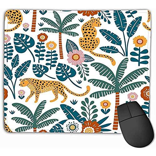 Mousepad Non Slip Rubber Gepersonaliseerde Unieke Gaming Mouse Pad 30X25CM Perfect Stof Behang Inpakpapier Hand getrokken Luipaarden Palm bomen Exotische Planten Mooie