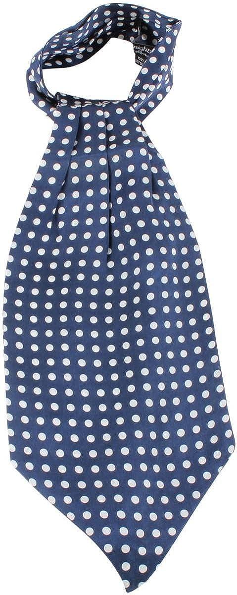 Knightsbridge Neckwear Mens Polka Dot Silk Cravat - Blue/White