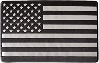 Reflective American Flag, 10 Inch Monochrome Large Back Patch - 10x6.25 inch. Embroidered Iron on Patch