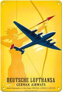 Pacifica Island Art Deutsche Lufthansa German Airways - Female Archer - Vintage Airline Travel Poster by Willy Hanke c.193...