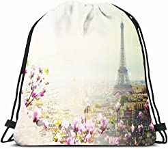 Ahawoso Drawstring Backpack String Bag 14X18 Pink Spring Vintage Retro Roof Skyline Paris European High City Roofs Tower French France Cityscape Flowers Sport Gym Sackpack Hiking Yoga Travel Beach