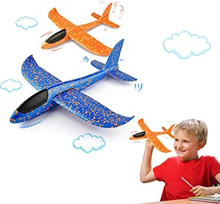 VCOSTORE 2pcs Throwing Foam Glider Airplane,EEP Manual Inertia Airplane Durable Aircraft for Kids Outdoor Sport Toys or Gi...