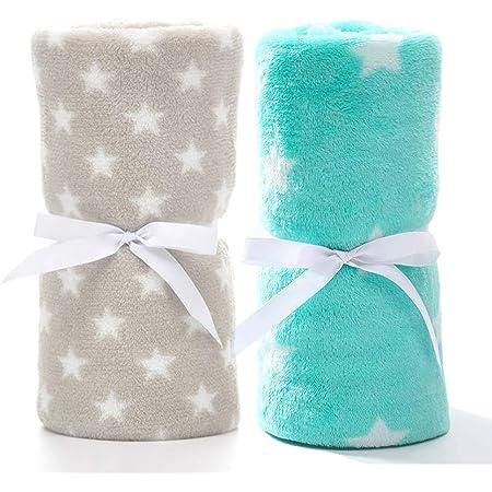 LeerKing Paquete de 2 Manta Polar para Bebes Recien Nacidos con Patrón de Manchas y Estrellas para Niña y Niño 75 * 100CM, Gris & Verde