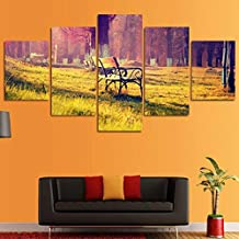 HPPTON Canvas Wall Art Pictures Home Decor For Living Room 5 Pieces Sun Shining Autumn Forest Landscape Painting HD Prints Poster s-8 x 14/18/22inch,With frame
