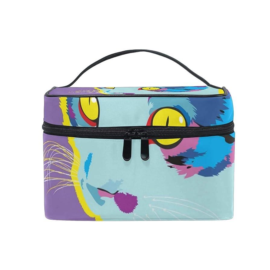 お別れランク構築するメイクボックス 猫の水彩柄 化粧ポーチ 化粧品 化粧道具 小物入れ メイクブラシバッグ 大容量 旅行用 収納ケース