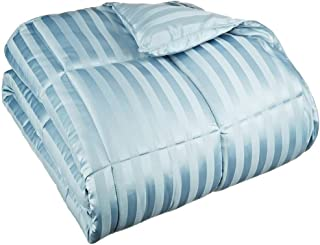 World Bedding Luxurious All-Season 400 GSM 1 PCs Comforter King/Cal-King Size Duvet Insert 500 Thread Count Light Blue Striped 100% Egyptian Cotton Ultra Soft Hypo-allergenic Breathable Durable Cover