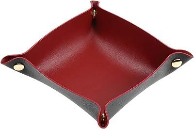 VOLAN 折りたたみ レザー トレイ 玄関 リビング デスク 小物入れ アクセサリー 収納 卓上 トレー (ブラック [ Sサイズ ])