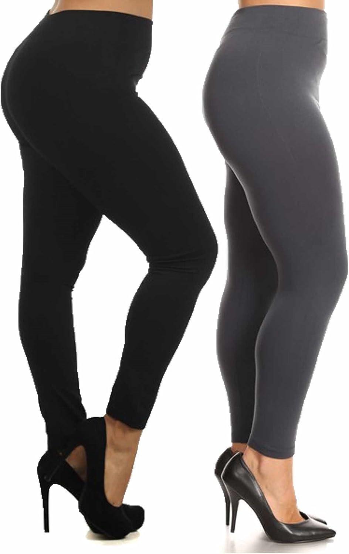 ShoSho Women's Plus Size Basic Leggings (Thick Fur-Lined Solid Black&Charcoal), 2X