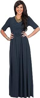 Womens Half Sleeve Elegant Evening Long Maxi Dress with Belt