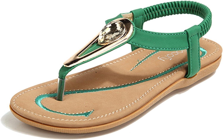 Socofy Bohemian Bohemian Bohemian Sandals, Woherrar Metal Rhineston Elastisk Clip Toe Slip On sommar strand Casual Sandals grön 7 B.M. USA  välkommen att beställa