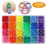 Quefe 2880pcs Large Hole Beads Rainbow Beads Plastic Beads 6 x 9mm 24 Colors 4 Styles Round Beads Set for DIY Jewelry Making