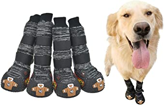 """FLAdorepet Dog Socks Boots with Straps Hiking Shoes for Medium Large Dogs Rubber Sole Anti-Slip Knit Puppy Paw Protector for Bulldog Husky Labrador 4PCS/Set 7-Width 2.9"""" x Length 3.1"""" Grey"""