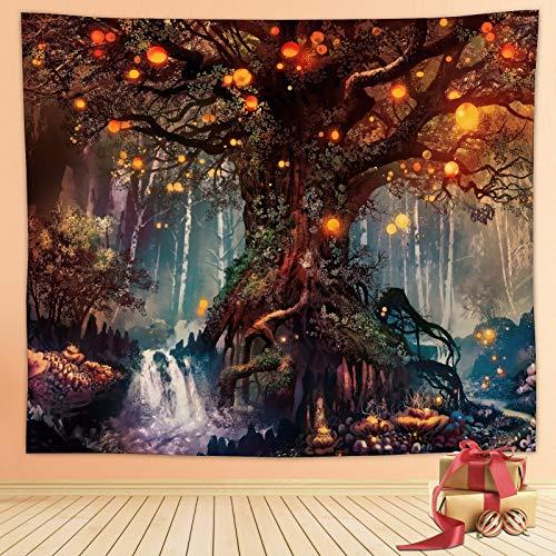 Arazzo da parete nero, decorazione da parete per soggiorno, camera da letto, casa (albero della vita 2)