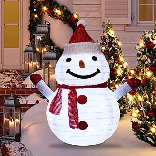 LED Weihnachtsmann Weihnachtsdeko,60X40cm Weihnachtsmann Weihnachten Schneemann Figur außen Garten,40 LEDs Zusammenfaltbar Weihnachtsdeko Figuren Beleuchtung für Innen Aussen Gartendekoration