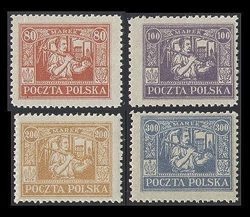 Goldhahn  liches Oberschlesien Regul  Ausgabe Nr. 17-20 postfrisch  Briefürken für Sammler