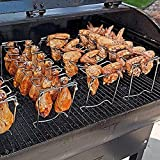YUyankejiYX Soporte para patas de pollo, 14 ranuras, de acero inoxidable, con bandeja de goteo para ahumar parrilla u horno, apto para lavavajillas, antiadherente, ideal para pícnic
